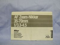 Nikon AF Zoom Nikkor 35-70mm  -ORIGINAL MAKERS- Instructions £2.49